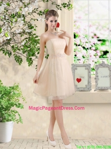 Perfect Short Strapless Champagne Pageant Dresses with Belt