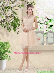 Pretty One Shoulder Champagne Pageant Dresses with Appliques and Belt