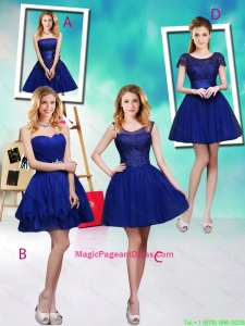 Wonderful Mini Length Royal Blue Pageant Dresses with Appliques