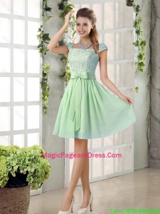 Affordable Square Lace Pageant Dresses with Bowknot