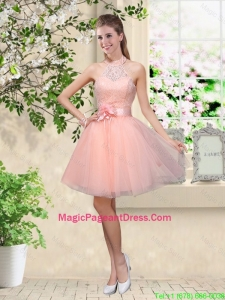 Artistic Halter Top Appliques and Laced Pageant Dresses in Baby Pink