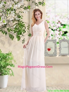 Beautiful V Neck Lace Up Pageant Dresses with Hand Made Flowers