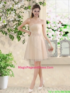 Comfortable Strapless Champagne Pageant Dresses with Knee Length