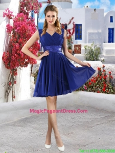 Discount V Neck Short Pageant Dresses in Royal Blue