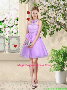 Feminine Halter Top Laced and Bowknot Pageant Dresses in Lavender