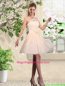 Lovely One Shoulder Pageant Dresses with Hand Made Flowers