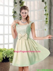 2016 Summer A Line Straps Lace Pageant Dresses with Bowknot