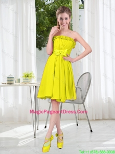 A Line Strapless Bowknot Custom Made Pageant Dresses for Party