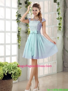 Perfect A Line Square Lace Pageant Dresses with Bowknot
