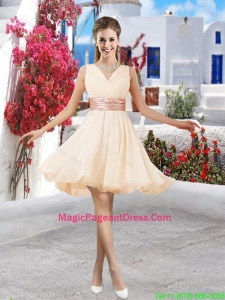 Affordable Champagne V Neck Pageant Dresses with Belt and Ruching
