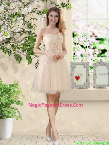 Beautiful Short Champagne Pageant Dresses with One Shoulder