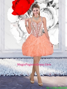 Beautiful Straps Beaded Pageant Dresses with Mini Length in Orange