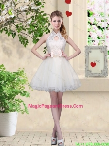 Feminine A Line Halter Top Pageant Dresses with Bowknot and Lace