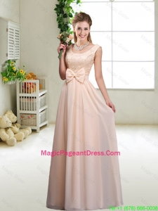 Perfect Bowknot Scoop Pageant Dresses in Champagne