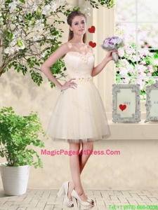 Popular A Line Champagne Pageant Dresses with Appliques and Belt
