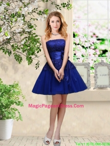 Popular Hand Made Flowers Royal Blue Pageant Dresses with Appliques