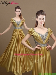 Elegant Empire Short Sleeves Beading Pageant Dressess for 2016