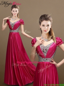 Pretty Empire V Neck Beading 2016 Pageant Dresses with Short Sleeves