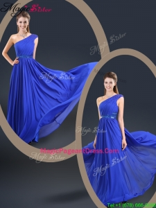 Cheap 2016 One Shoulder Blue 2016 Pageant Dresses with Belt