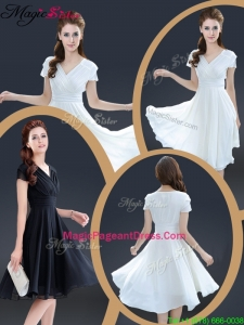 Cheap Knee Length V Neck 2016 Pageant Dresses with Ruching