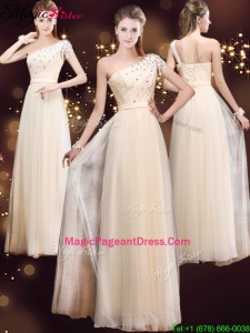 Elegant One Shoulder 2016 Pageant Dresses with Appliques and Beading