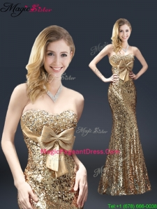 Fall Column Sequins 2016 Pageant Dresses with Bowknot in Gold