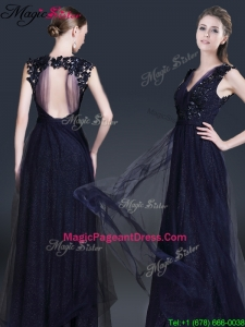 Fashionable V Neck Paillette 2016 Pageant Dresses in Navy Blue