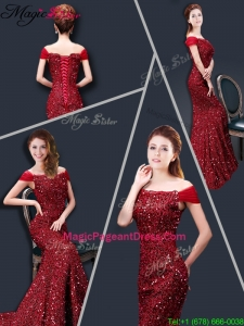 Winter Mermaid Off the Shoulder Sequins 2016 Pageant Dresses in Wine Red