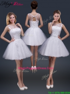 2016 Pretty Short Scoop Appliques Pageant Dresses in White