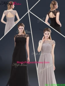 Elegant Empire Cap Sleeves Beading and Ruching 2016 Pageant Dresses
