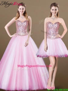 Lovely A Line Sweetheart Beading Detachable 2016 Pageant Dresses