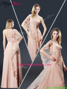 Luxurious One Shoulder Appliques 2016 Pageant Dresses in Peach