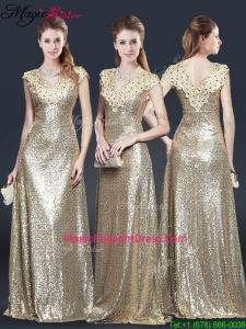 Perfect V Neck Sequins 2016 Pageant Dresses in Champagne