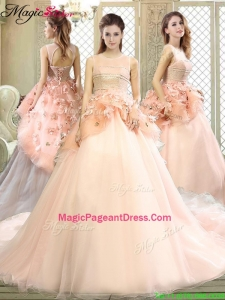 2016 Beautiful Scoop Court Train Pageant Dresses with Hand Made Flowers