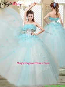 2016 Beautiful Strapless Pageant Dresses with Appliques and Ruffles