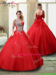 2016 Classical One Shoulder Pageant Dresses with Beading in Red