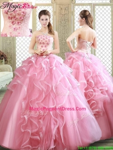 2016 Exquisite Strapless Pageant Dresses with Appliques and Ruffles