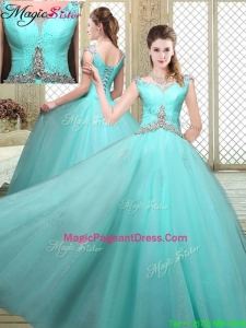 2016 Exquisite Straps Beading Pageant Dresses in Aqua Blue