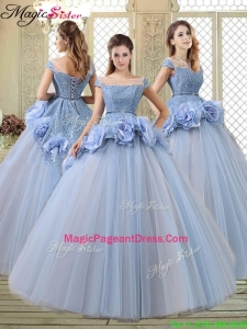 2016 Luxurious Bateau Lavender Pageant Dresses with Hand Made Flowers