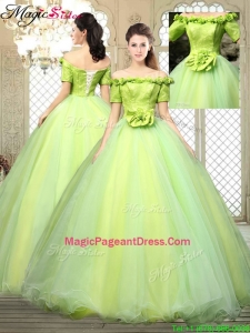 2016 Pretty Off the Shoulder Pageant Dresses with Hand Made Flowers