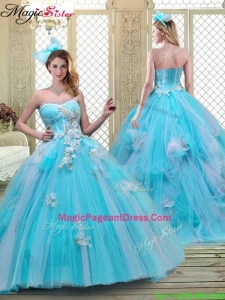 2016 Summer Sweetheart Brush Train Pageant Dresses in Baby Blue