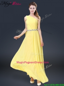 Fashionable One Shoulder Pageant Dresses in Yellow