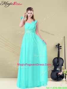 Pageant Empire Bridesmaid Dresses with Belt in Apple Green