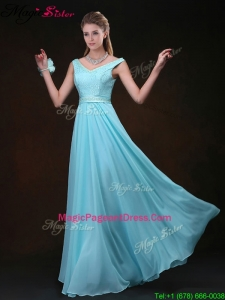 Amazing Empire V Neck Bridesmaid Dresses with Belt and Lace