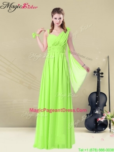 Amazing Floor Length Straps Belt Bridesmaid Dresses for Summer