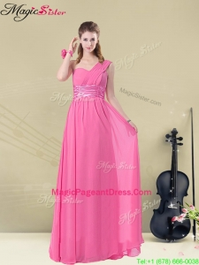 Amazing One Shoulder Ruching Pageant Dresses with Belt