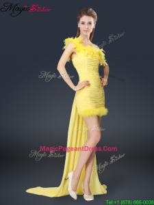 Amazing One Shoulder Watteau Train Pageant Dresses in Yellow
