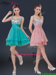 Amazing Short Straps Paillette Pageant Dresses for Summer