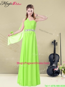 2016 Exquisite Floor Length One Shoulder Ruching Pageant Dresses for Summer
