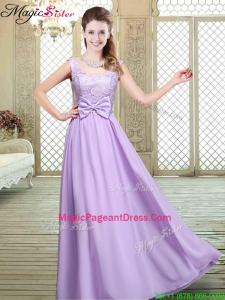 2016 Perfect Scoop Bowknot Lavender Pageant Dresses for Fall